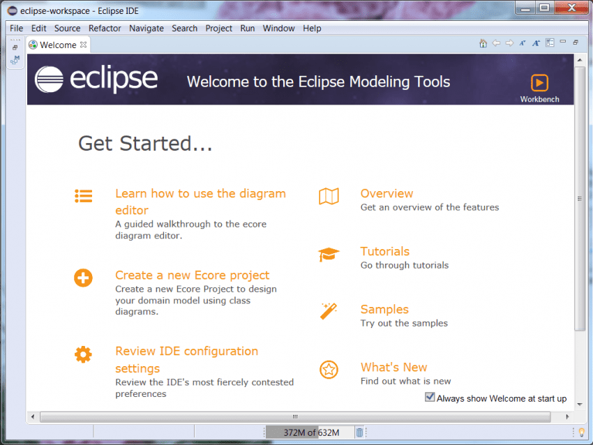 Eclipse Welcome Screen