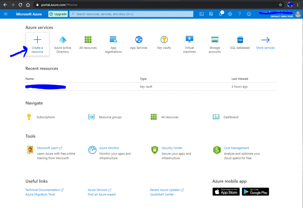 Azure Key Vault: Create a resource from the main panel