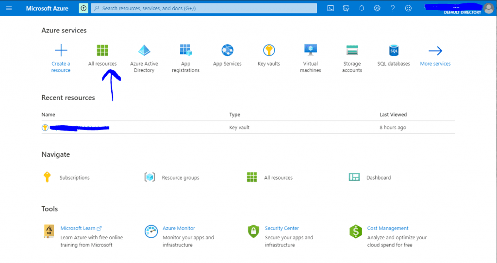 Azure Key Vault: Select the All resources option