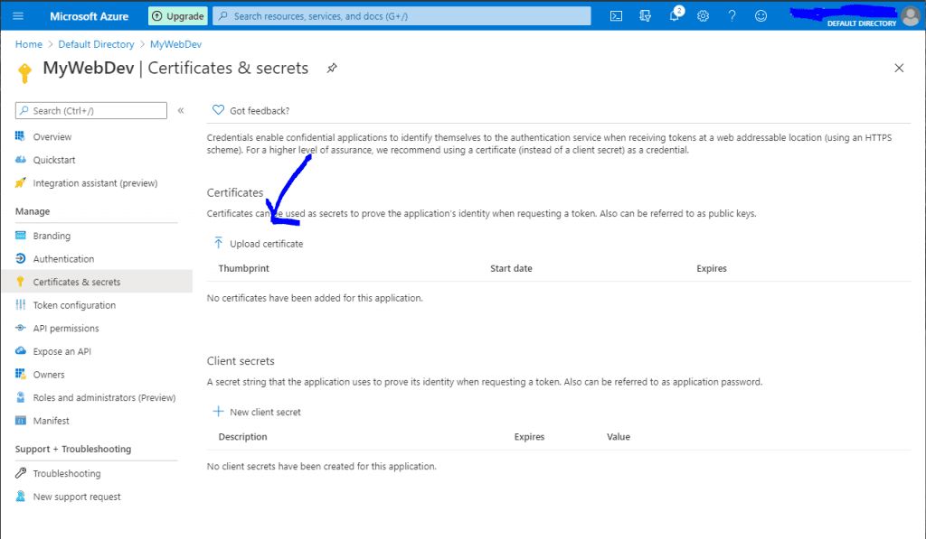 Uploading a certificate to Azure