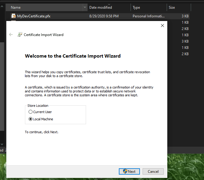 Installing a certificate on a local PC